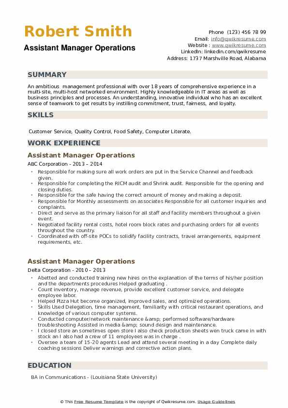Assistant Manager Operations Resume example