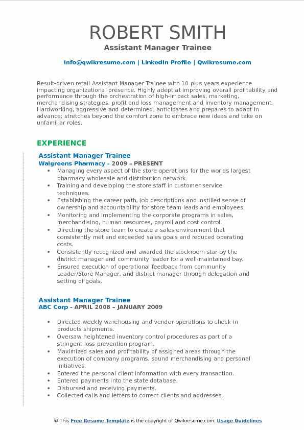 Assistant Manager Trainee Resume Format