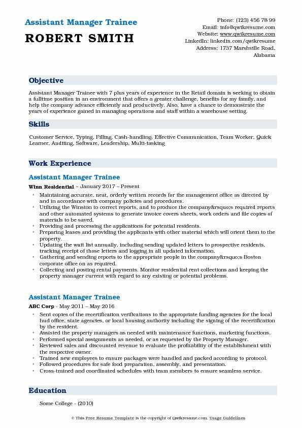 Assistant Manager Trainee Resume Model