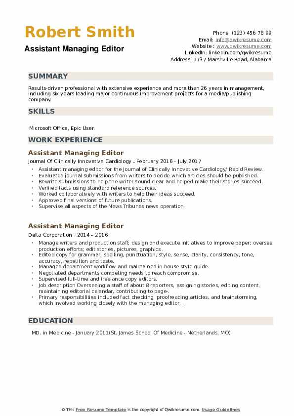 Assistant Managing Editor Resume example
