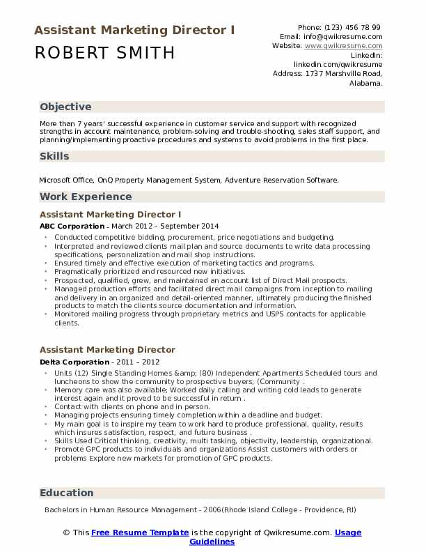Assistant Marketing Director Resume example
