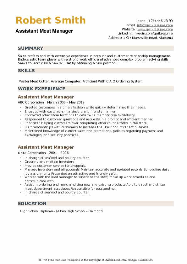 Assistant Meat Manager Resume example