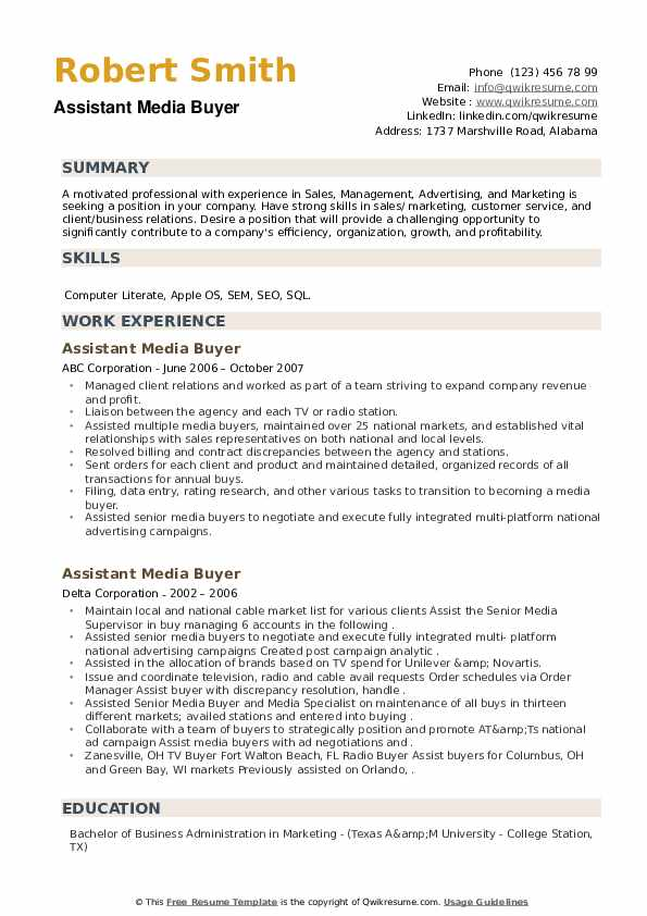 Assistant Media Buyer Resume example