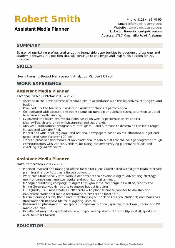 Assistant Media Planner Resume example