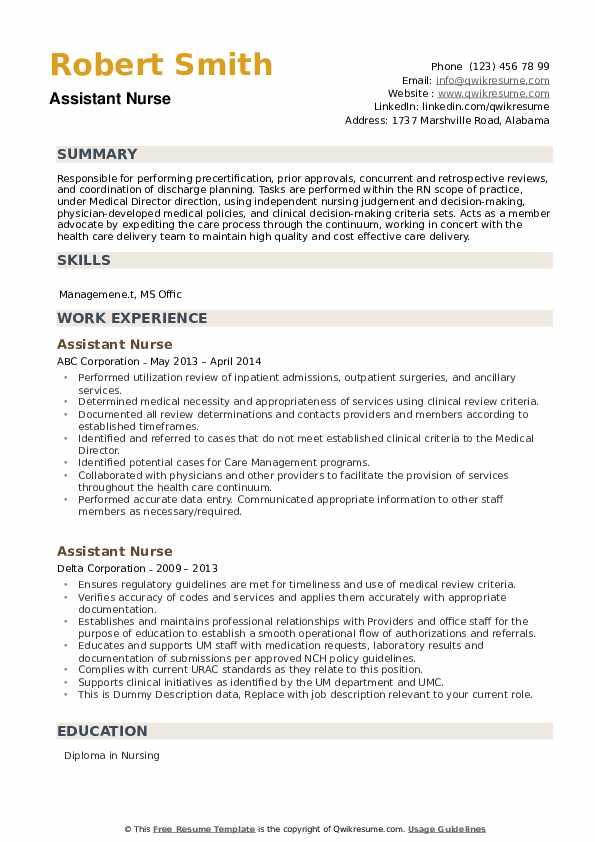 Assistant Nurse Resume example