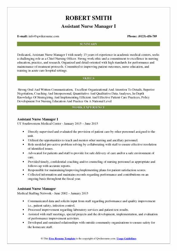 Assistant Nurse Manager I Resume Template