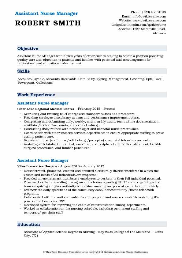 Assistant Nurse Manager Resume Example