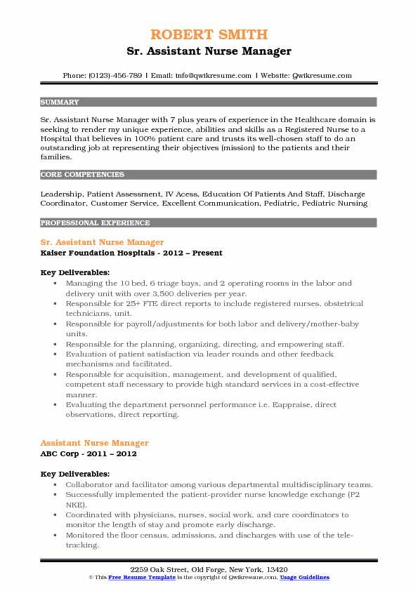 Sr Assistant Nurse Manager Resume Template