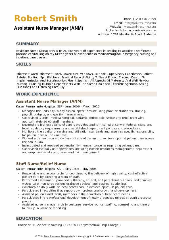 Assistant Nurse Manager Resume Samples | QwikResume