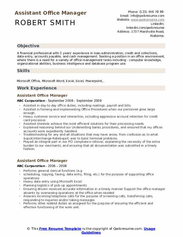 Assistant Office Manager Resume Samples | QwikResume