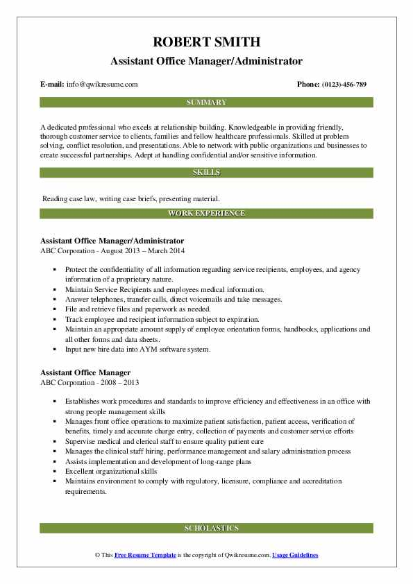 Assistant Office Manager/Administrator Resume Example