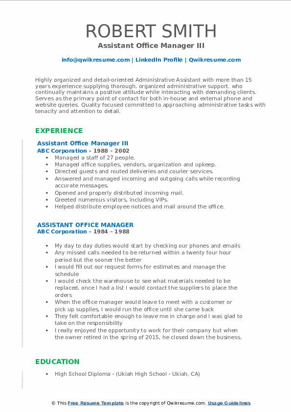 Assistant Office Manager III Resume Template