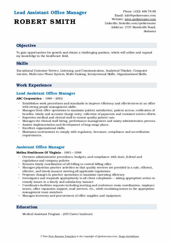 Lead Assistant Office Manager Resume Example