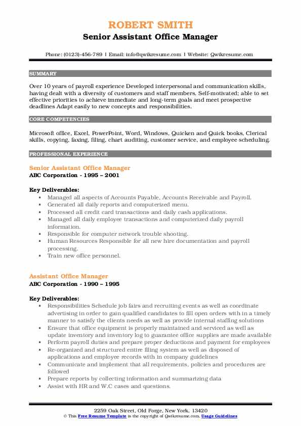 Senior Assistant Office Manager Resume Example