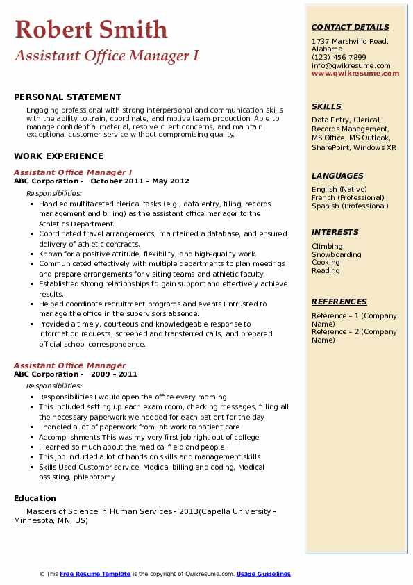 Assistant Office Manager I Resume Format