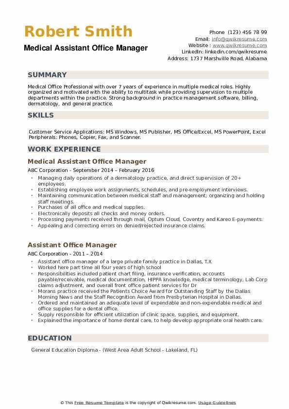 Medical Assistant Office Manager Resume Model