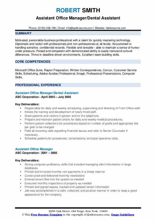 Assistant Office Manager/Dental Assistant Resume Format