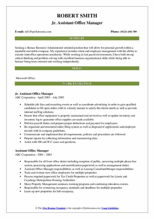 Jr. Assistant Office Manager Resume Example