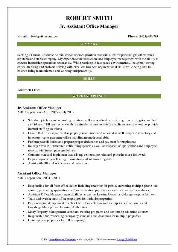 Jr. Assistant Office Manager Resume Format