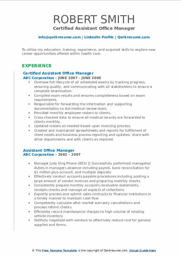 Certified Assistant Office Manager Resume Format