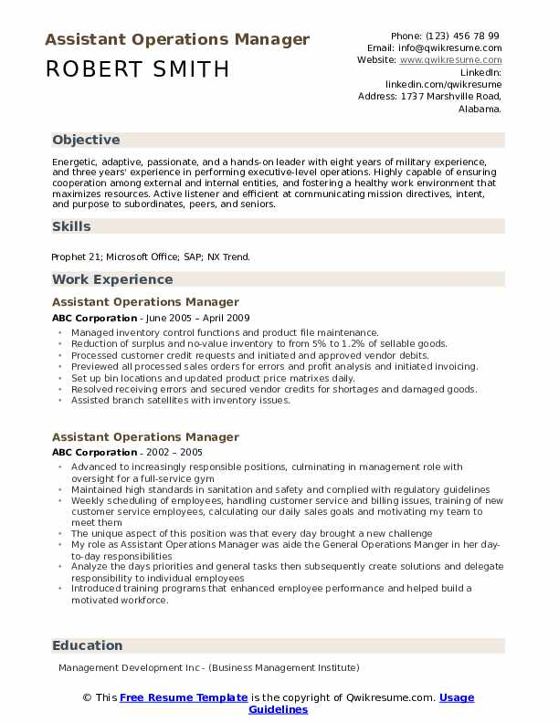 Assistant Operations Manager Resume Samples Qwikresume