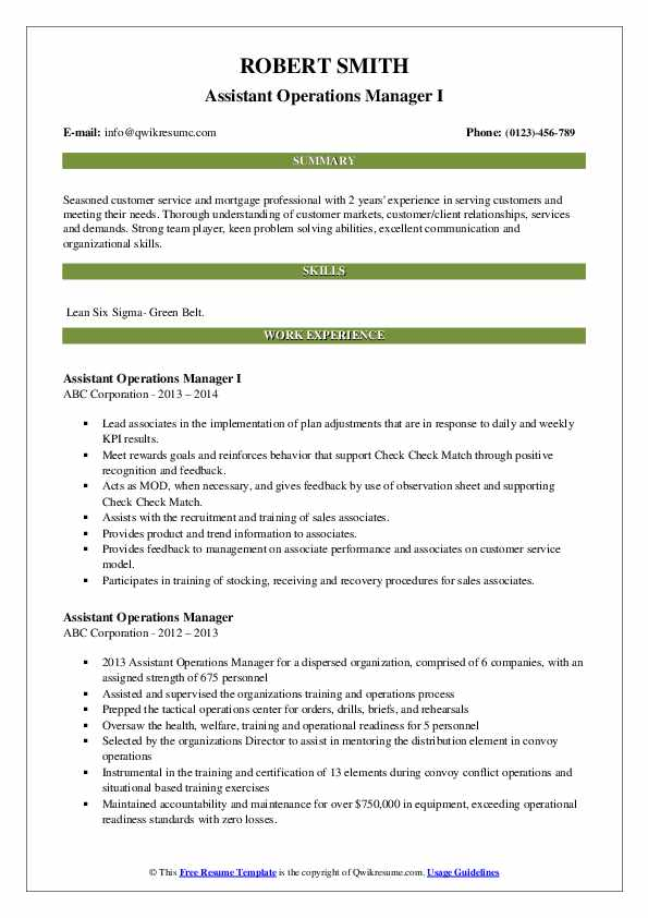 Assistant Operations Manager I Resume Sample