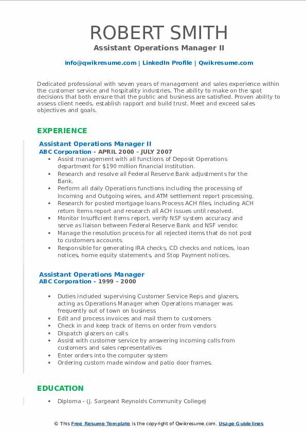 Assistant Operations Manager II Resume Template