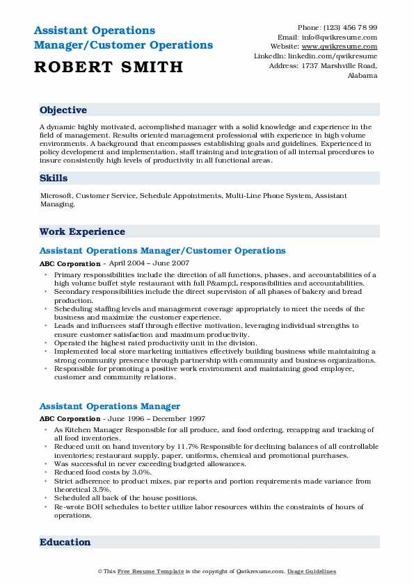 Assistant Operations Manager/Customer Operations Resume Model