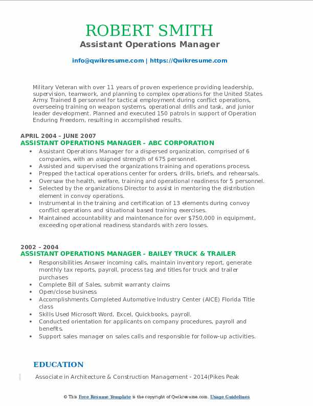 Assistant Operations Manager Resume Format