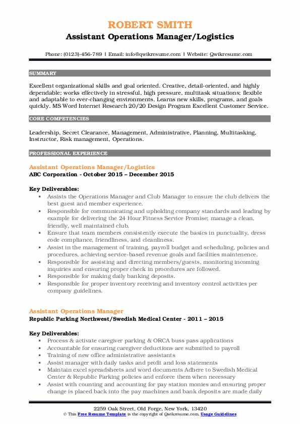 Assistant Operations Manager/Logistics Resume Sample