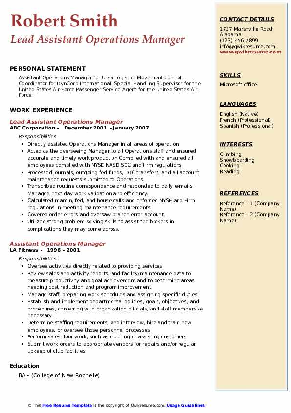 Lead Assistant Operations Manager Resume Example