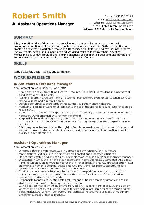 Jr. Assistant Operations Manager Resume Example
