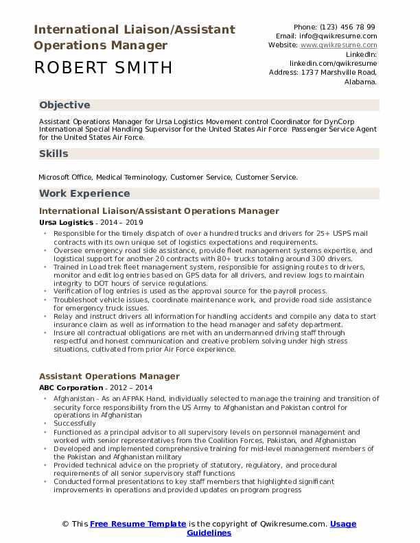 International Liaison/Assistant Operations Manager Resume Template