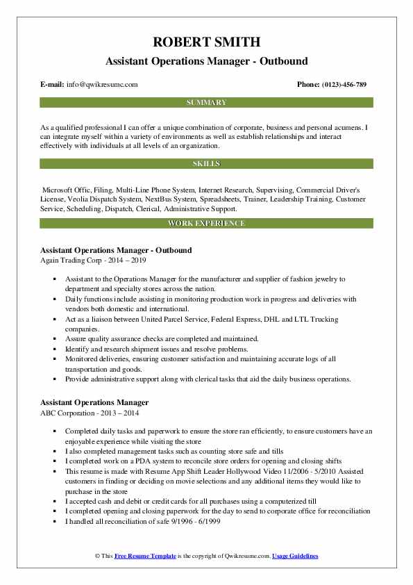 Assistant Operations Manager - Outbound Resume Sample