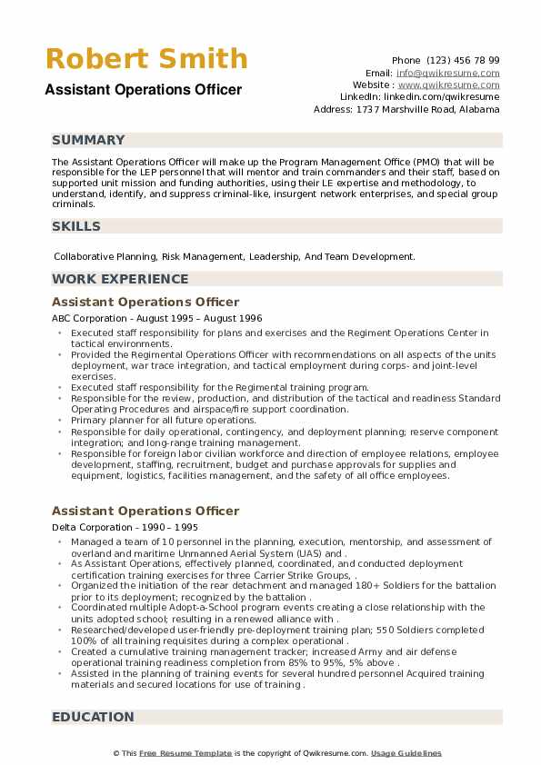 Assistant Operations Officer Resume example