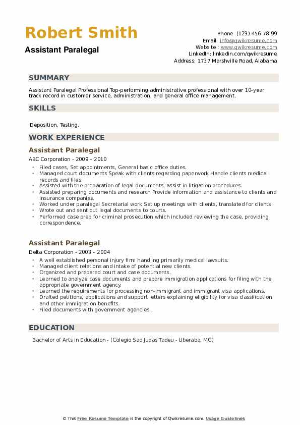 Assistant Paralegal Resume example