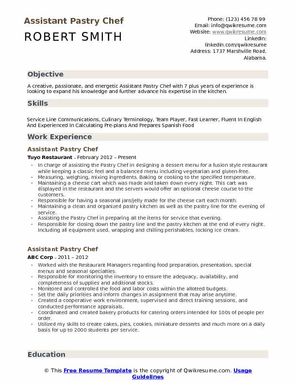 assistant pastry chef resume samples
