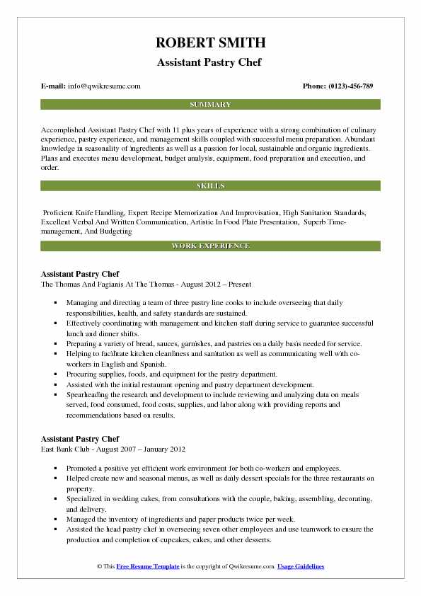 Assistant Pastry Chef  Resume Example