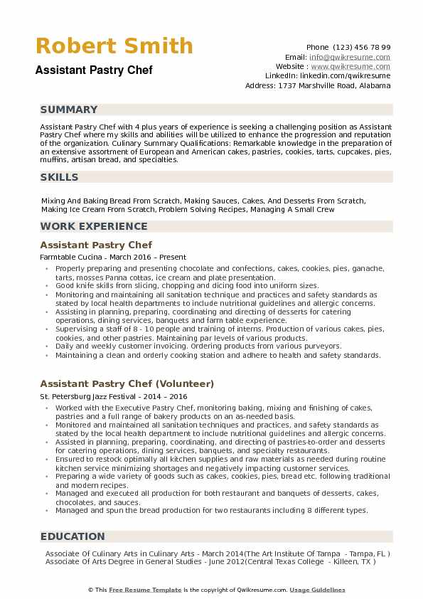 Assistant Pastry Chef Resume Samples | QwikResume