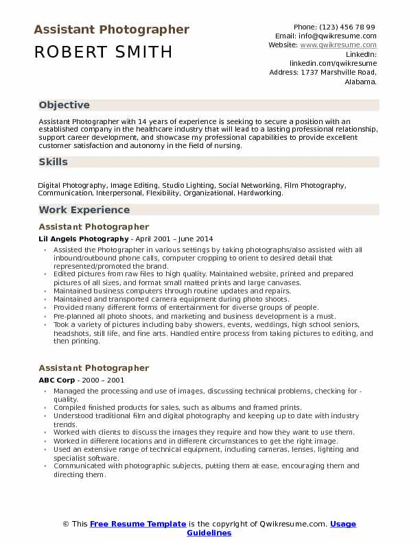 Assistant Photographer Resume Format