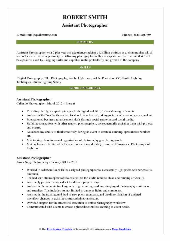 Assistant Photographer Resume Template