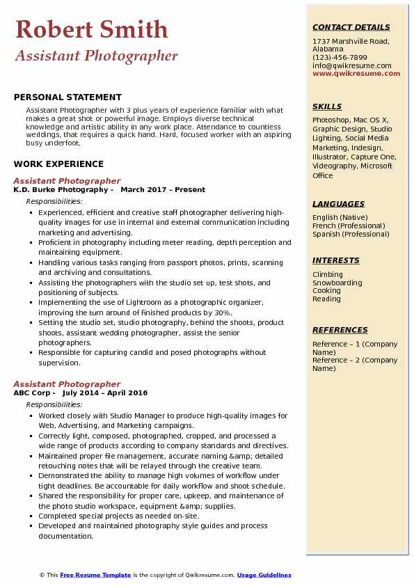 Assistant Photographer Resume Model