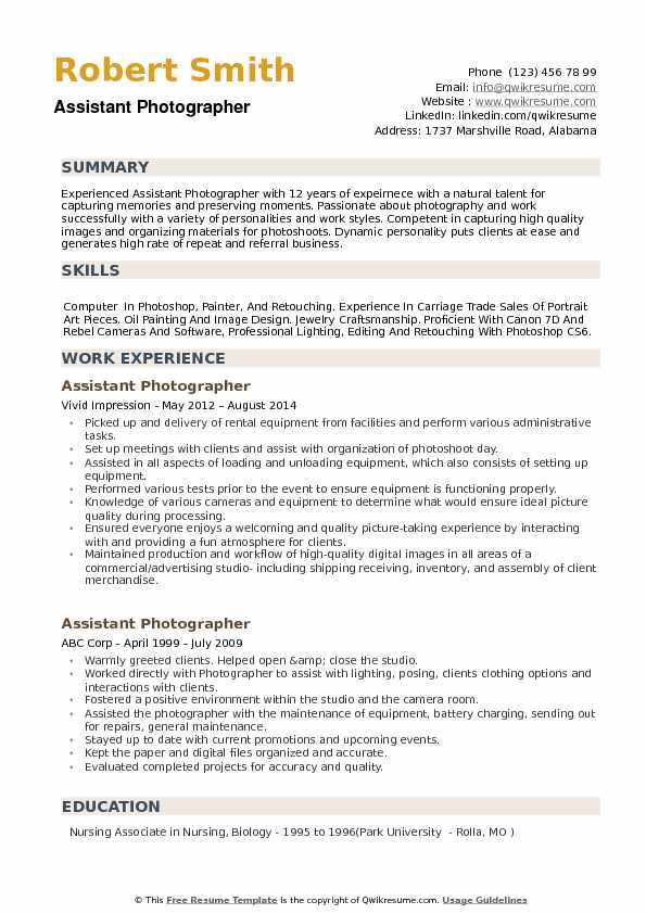 Assistant Photographer Resume Example