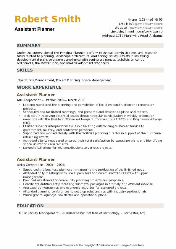 Assistant Planner Resume example