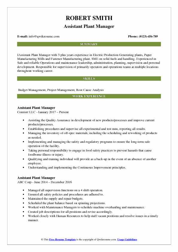 Assistant Plant Manager Resume Model