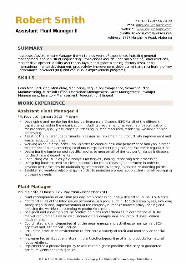 Assistant Plant Manager Resume Samples | QwikResume