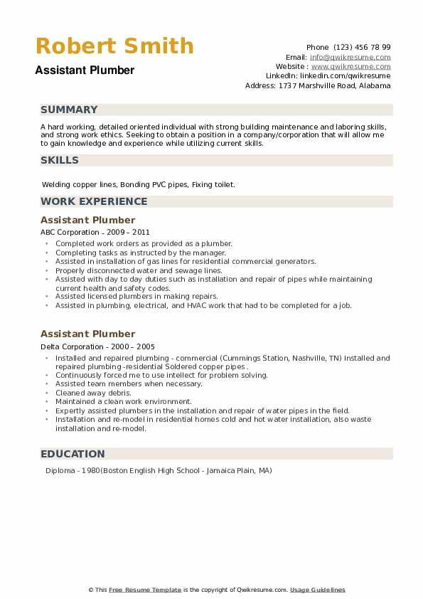Assistant Plumber Resume example