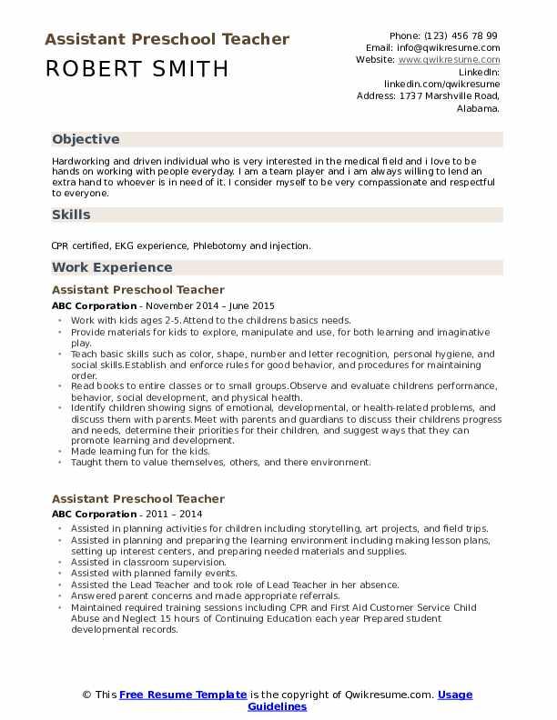 Assistant Preschool Teacher Resume Samples Qwikresume