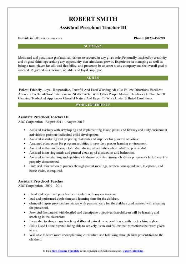 Assistant Preschool Teacher III Resume Model