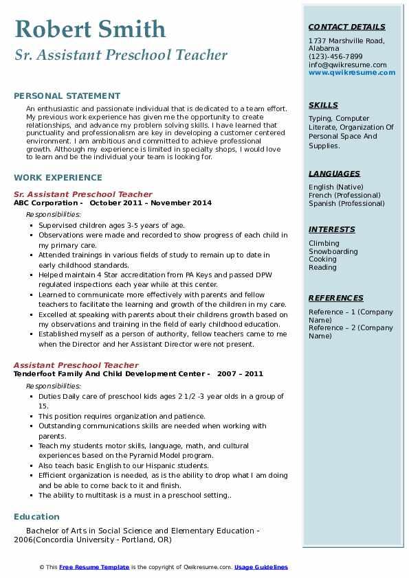 Sr. Assistant Preschool Teacher Resume Format